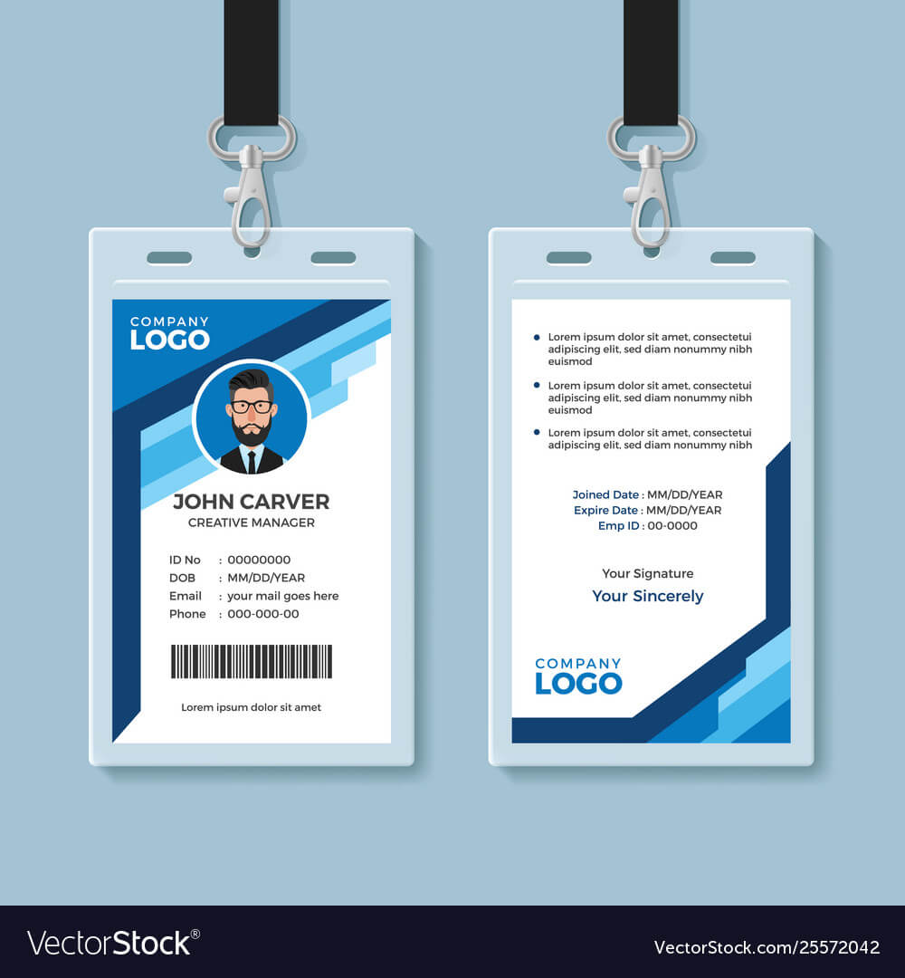 001 Blue Graphic Employee Id Card Template Vector Free Pertaining To Id Card Template Ai