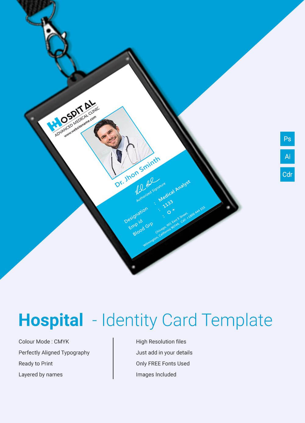 001 Identification Card Templates Free Download Template Within Portrait Id Card Template
