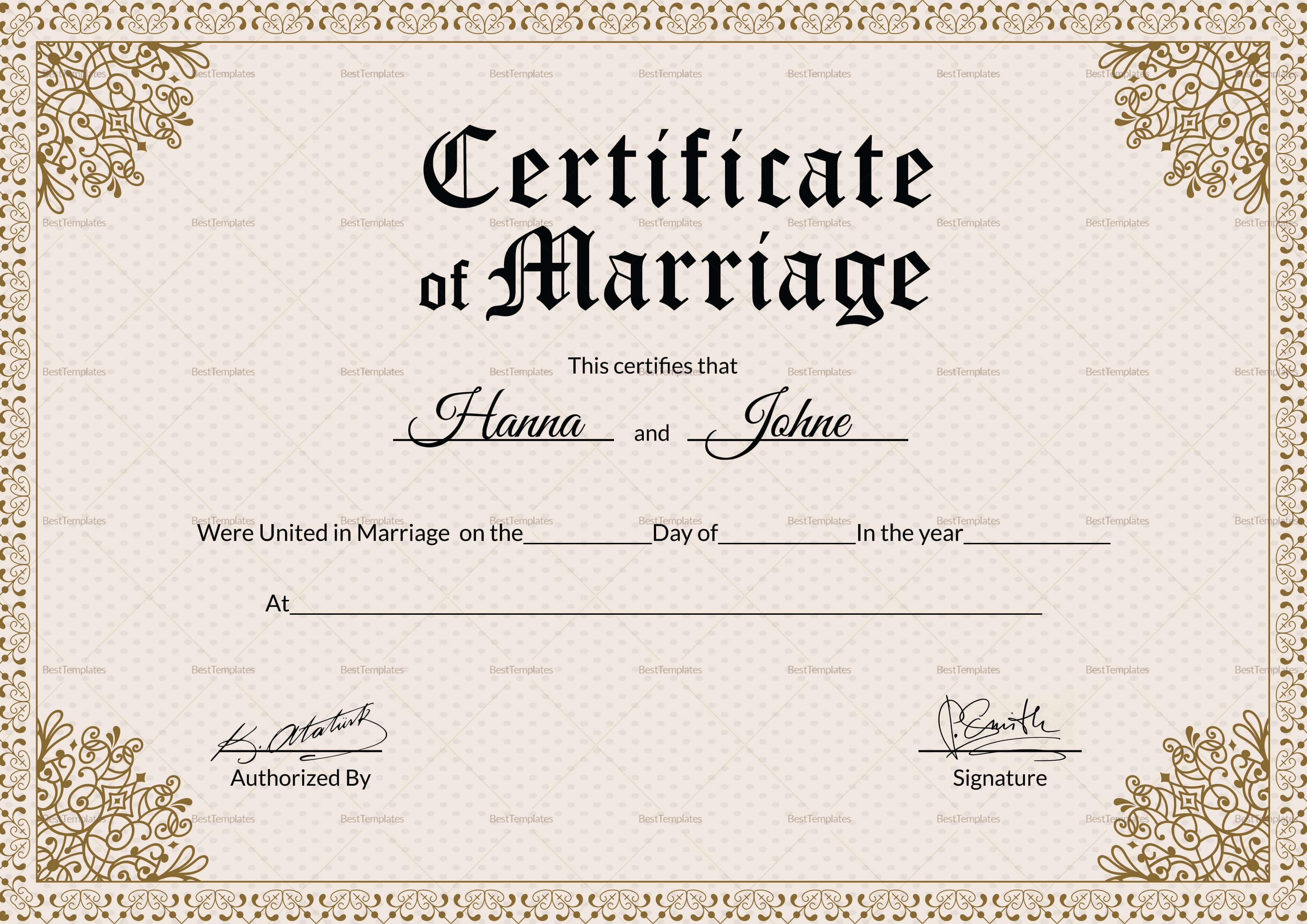 001 Keepsake Marriage Certificate28129 Template Ideas pertaining to Certificate Of Marriage Template