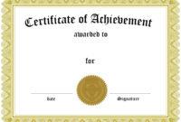 001 Template Ideas Certificate Of Achievement Phenomenal with Free Printable Certificate Of Achievement Template