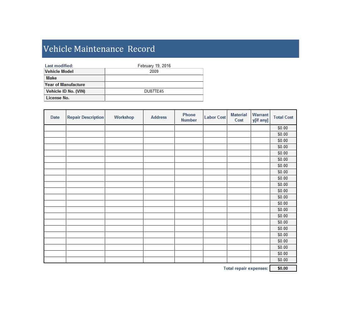 001 Vehicle Maintenance Log Template Excel Rare Ideas Fleet regarding Maintenance Job Card Template