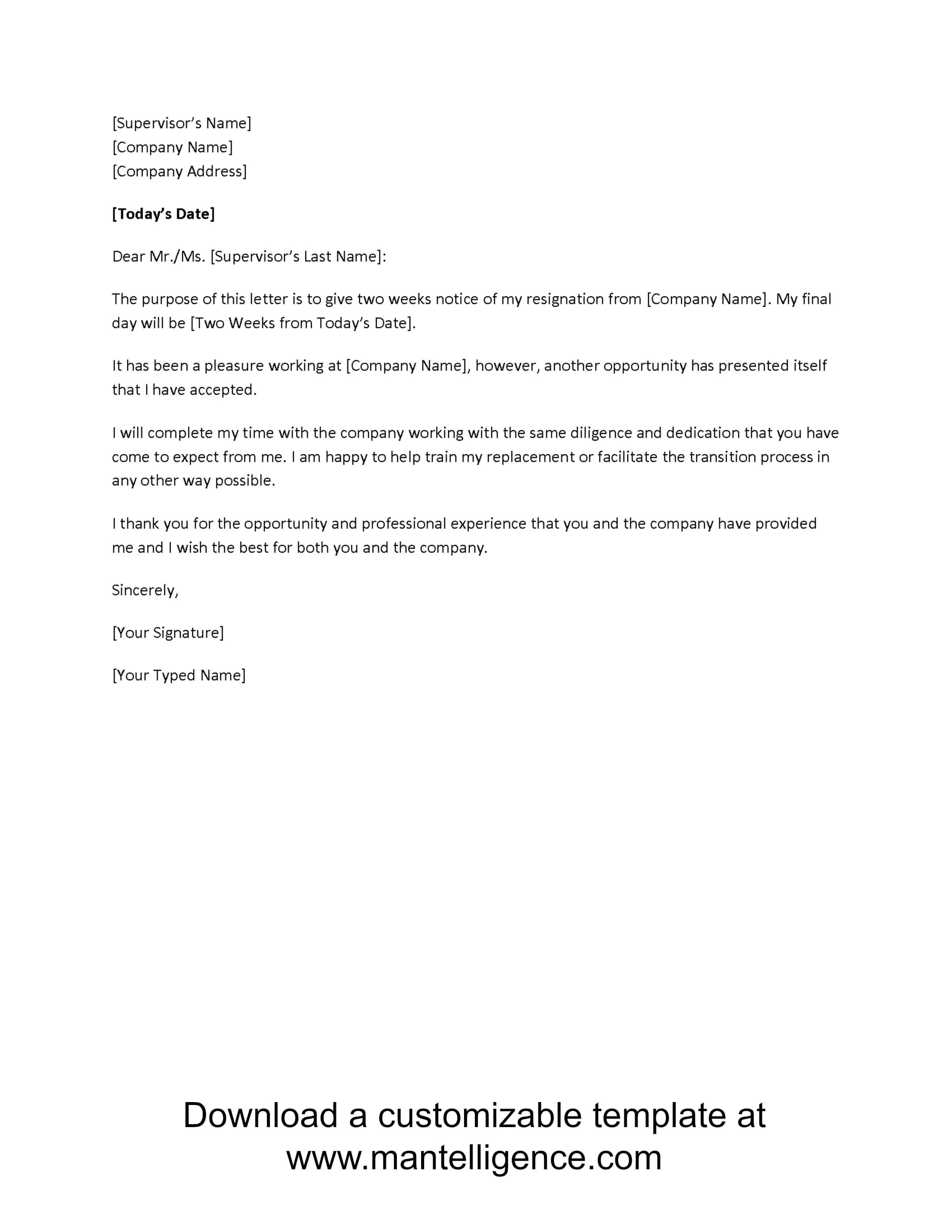 001 Week Notice Letter Template Ideas Incredible 2 Simple throughout 2 Weeks Notice Template Word
