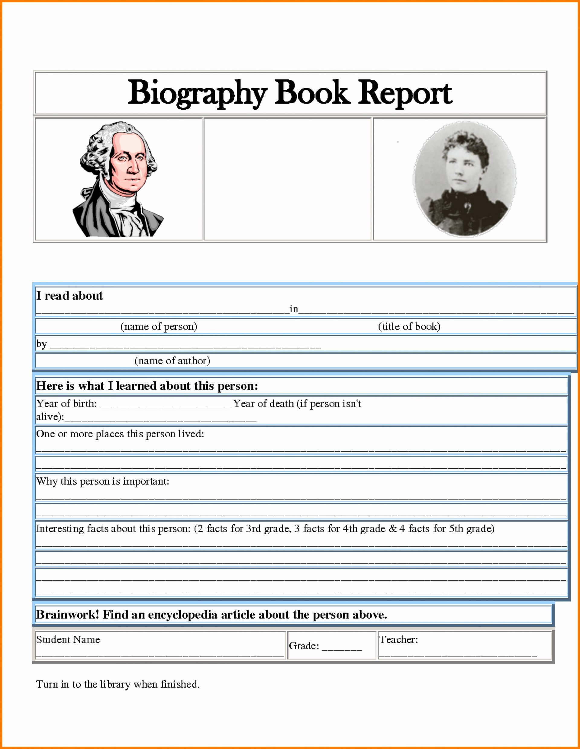 002 Biography Book Report Template Ideas Formidable 3Rd intended for One Page Book Report Template
