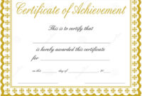 003 Certificate Of Achievement Template Free Ideas throughout Blank Certificate Of Achievement Template