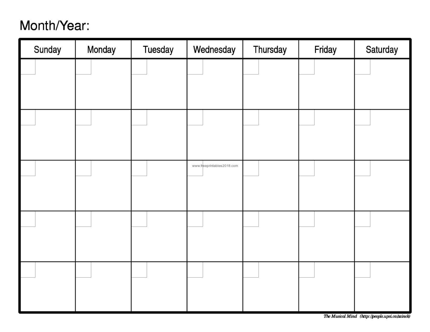 003 Free Printable Calendar Blank Templates Monthly Of pertaining to Full Page Blank Calendar Template