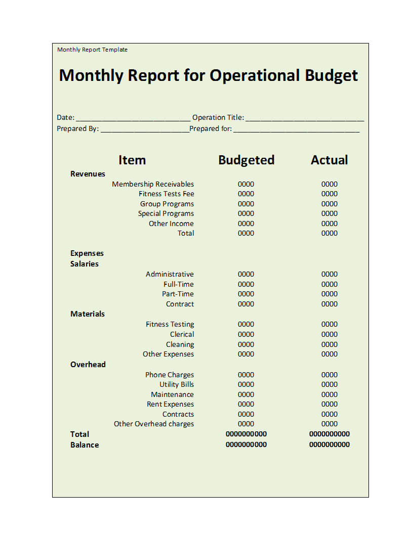 003 Monthly Report Template Ideas Top Financial Doc Format Pertaining To Monthly Financial Report Template