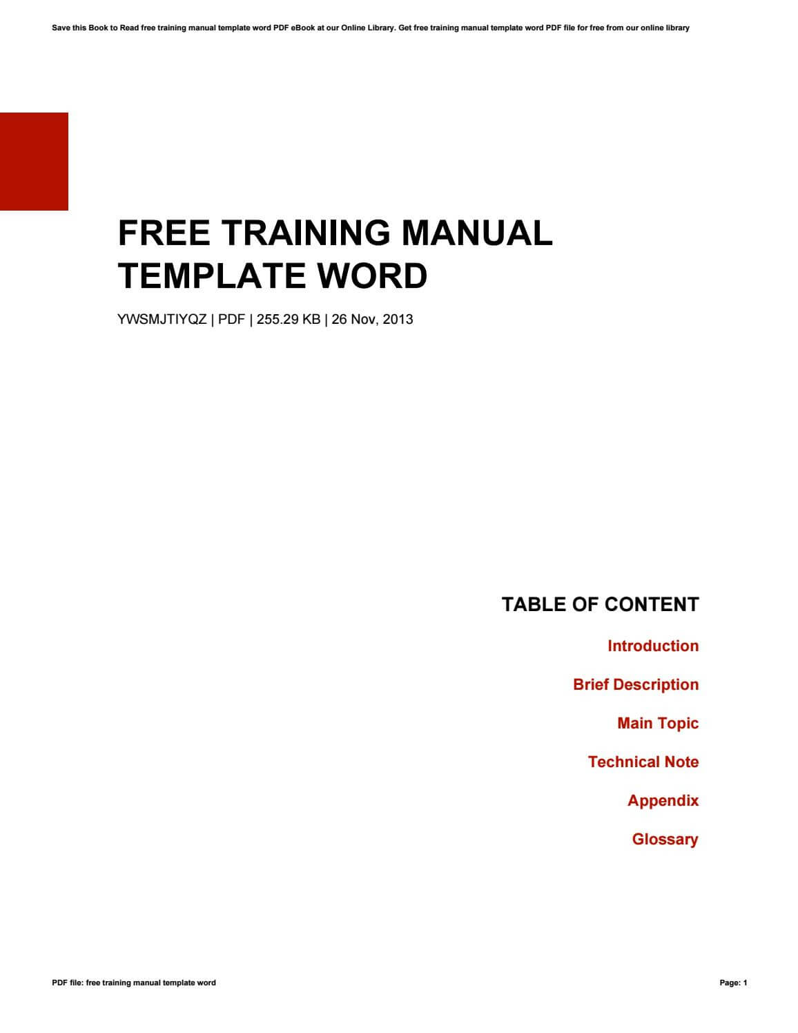 003 Training Manual Template Word Ideas Page 1 Fascinating intended for Training Manual Template Microsoft Word