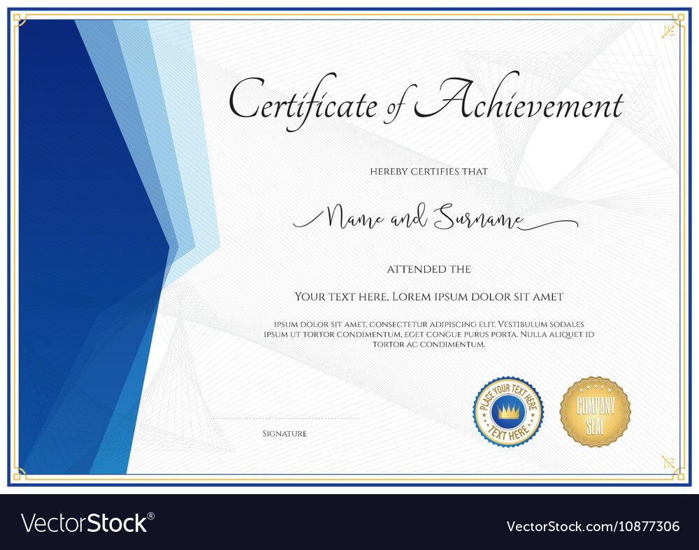 004 Modern Certificate Template For Achievement Vector Of throughout Certificate Of Achievement Army Template