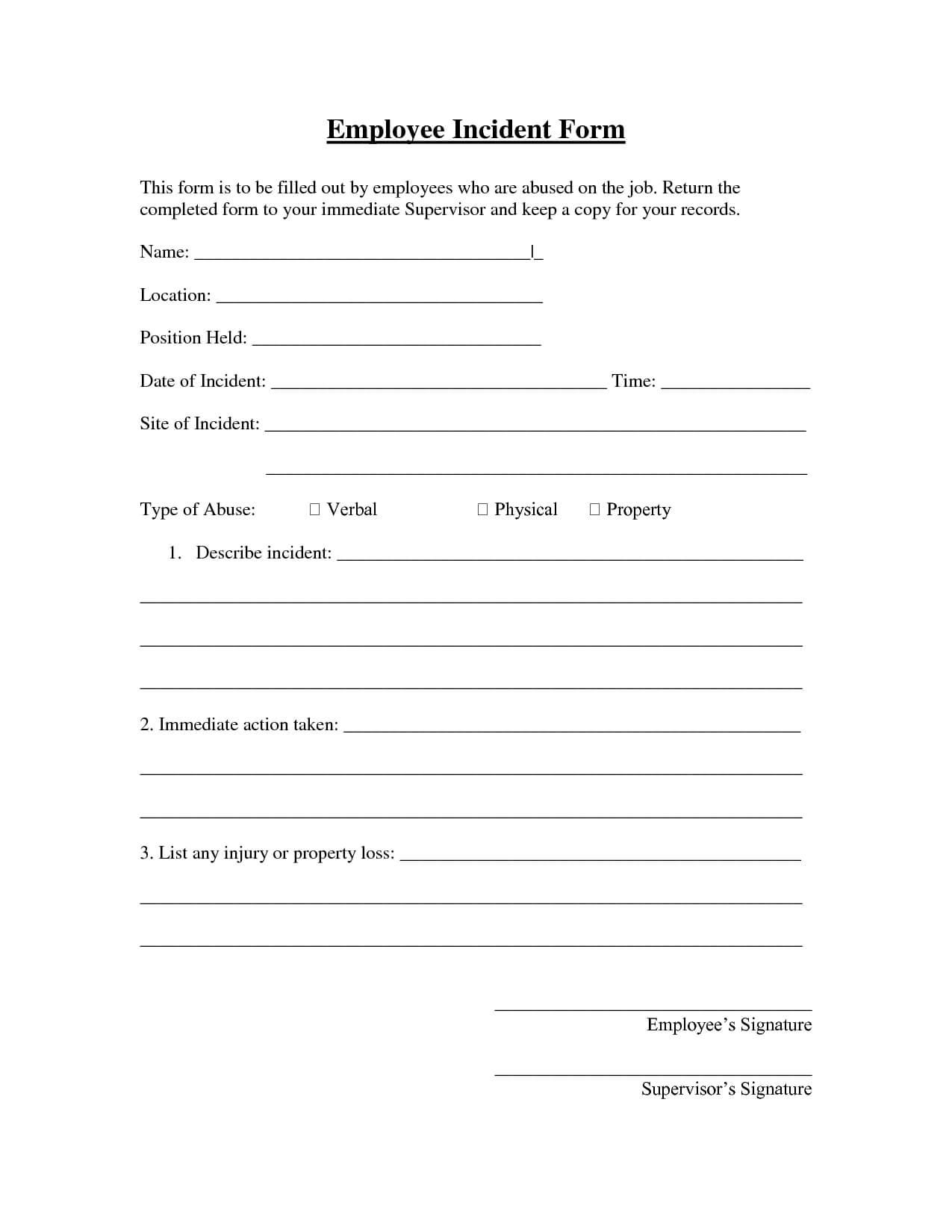 005 Employee Incident Report Form Template 290707 Top Ideas regarding Incident Hazard Report Form Template