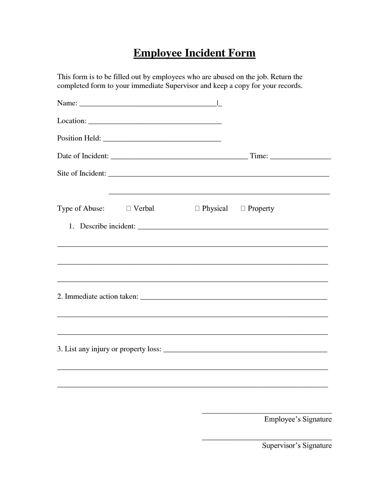 005 Employee Incident Report Form Template 290707 Top Ideas With Employee Incident Report Templates