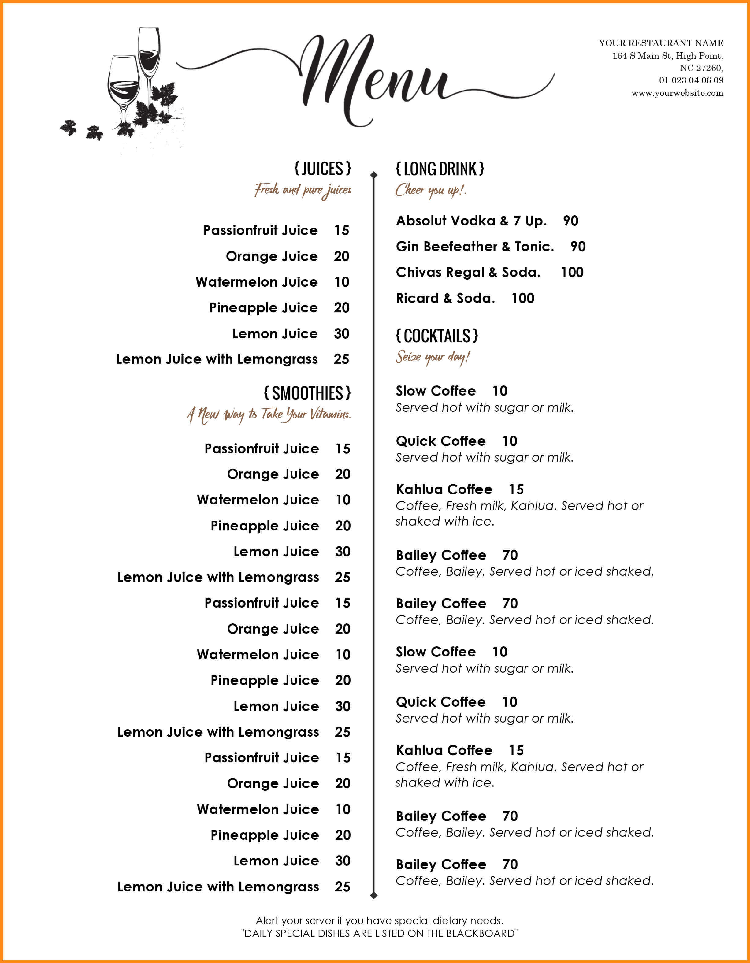 006 Menu Templates Free Download Word Drink Template Dreaded Inside Free Cafe Menu Templates For Word