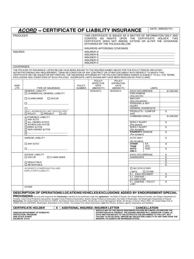 008 Certificate Of Insurance Template Ideas Liability Form intended for Certificate Of Insurance Template