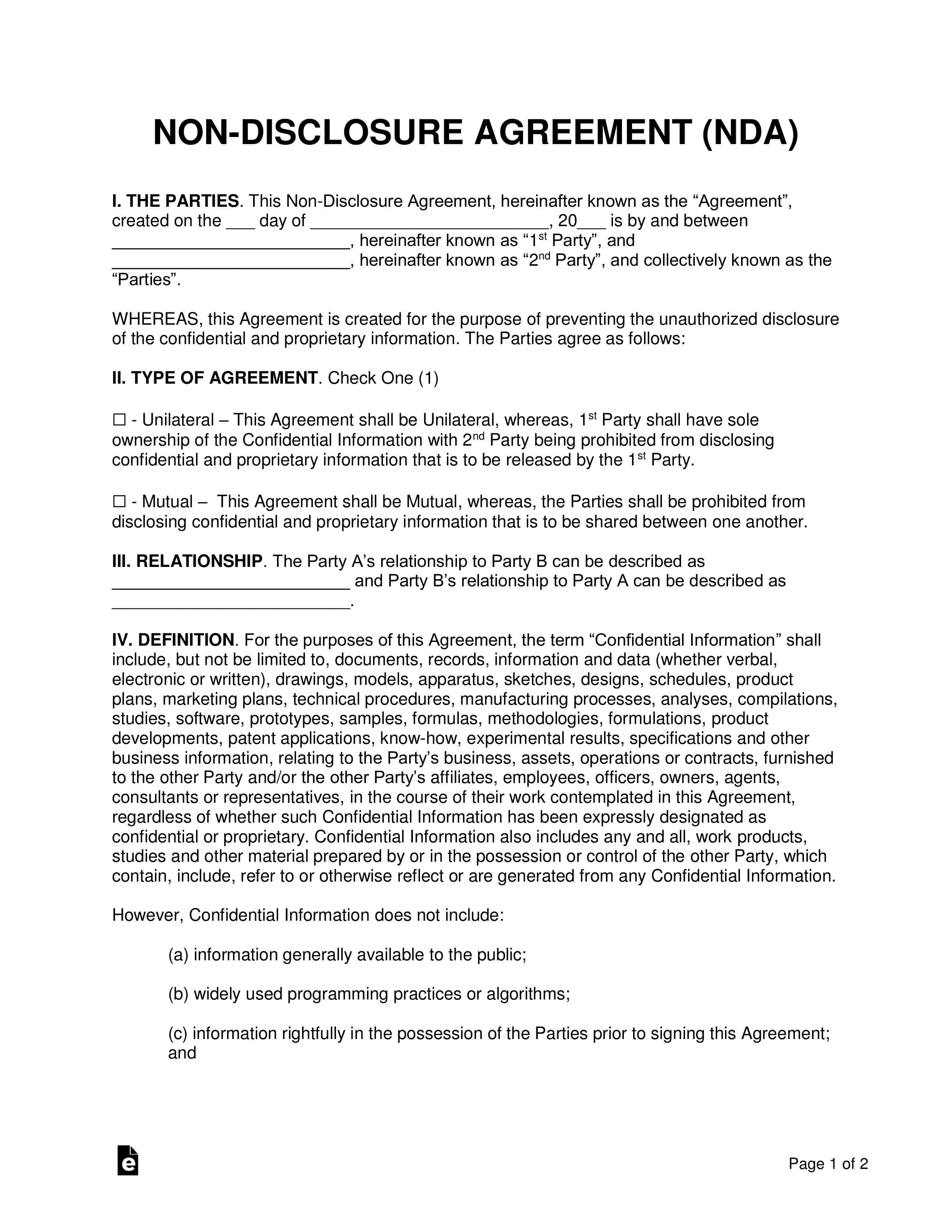 008 Template Ideas Non Disclosure Agreement Confidentiality throughout Nda Template Word Document
