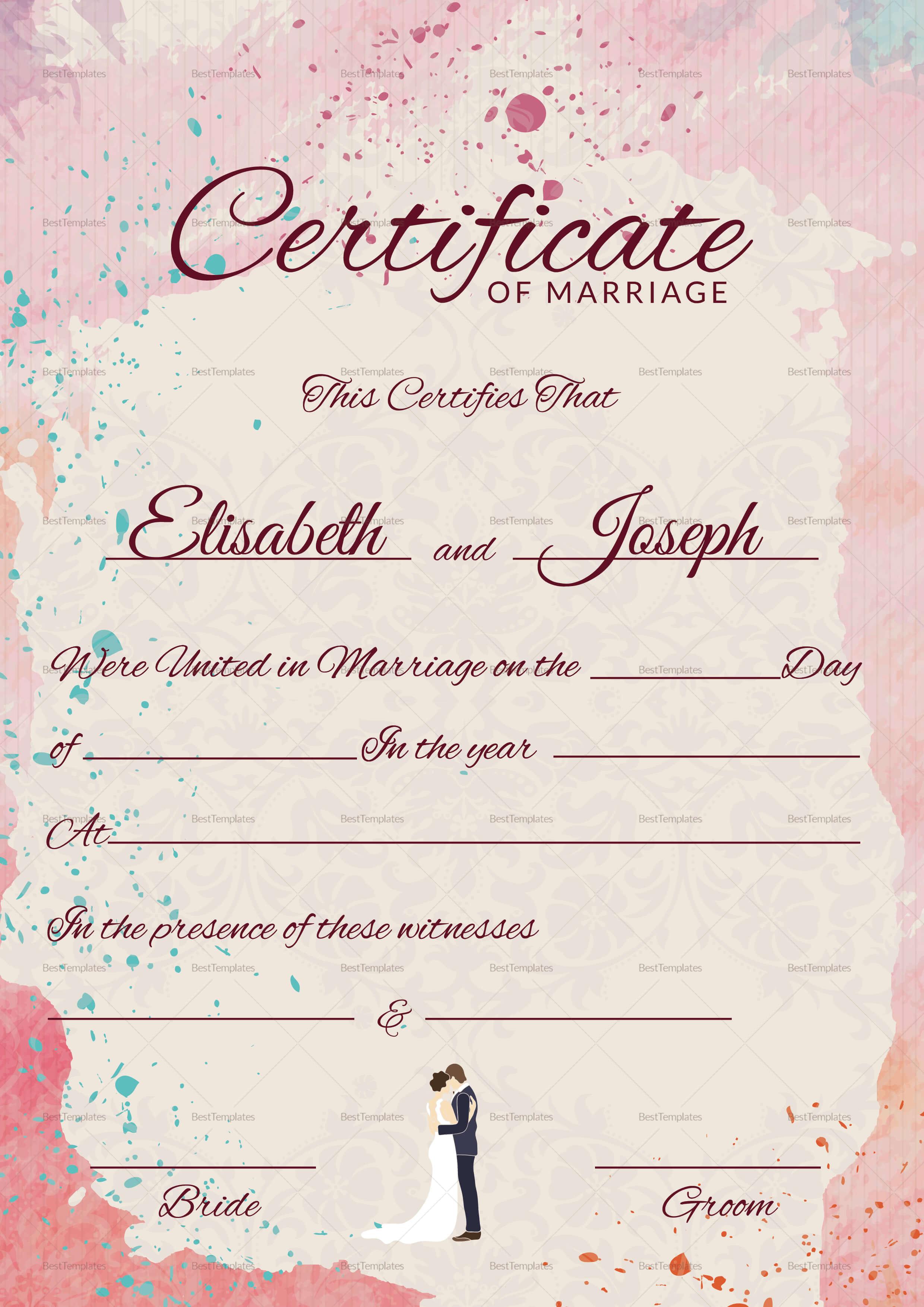 009 Marriage Certificate Template Ideas Beautiful Of Pdf with regard to Certificate Of Marriage Template