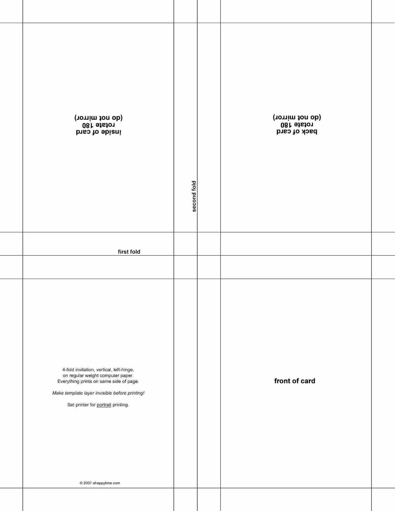 009 Quarter Fold Card Template Word Birthday Best Half with Quarter Fold Card Template