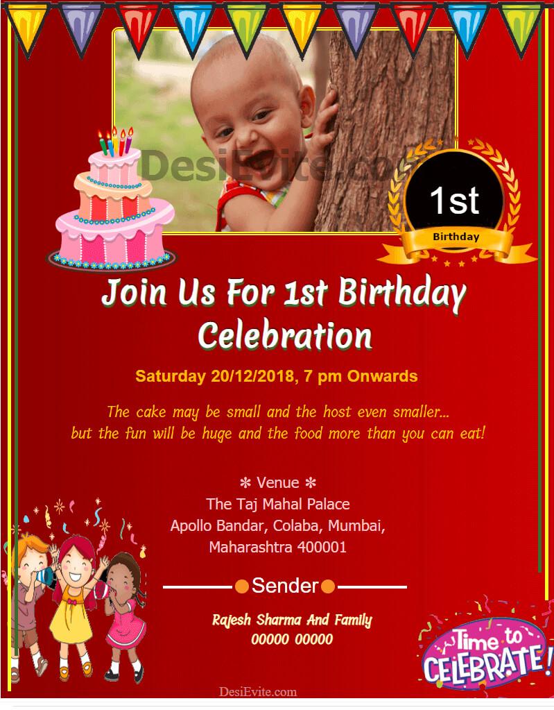 010 1St Birthday Invitation Wording Samples Customisable Regarding First Birthday Invitation Card Template