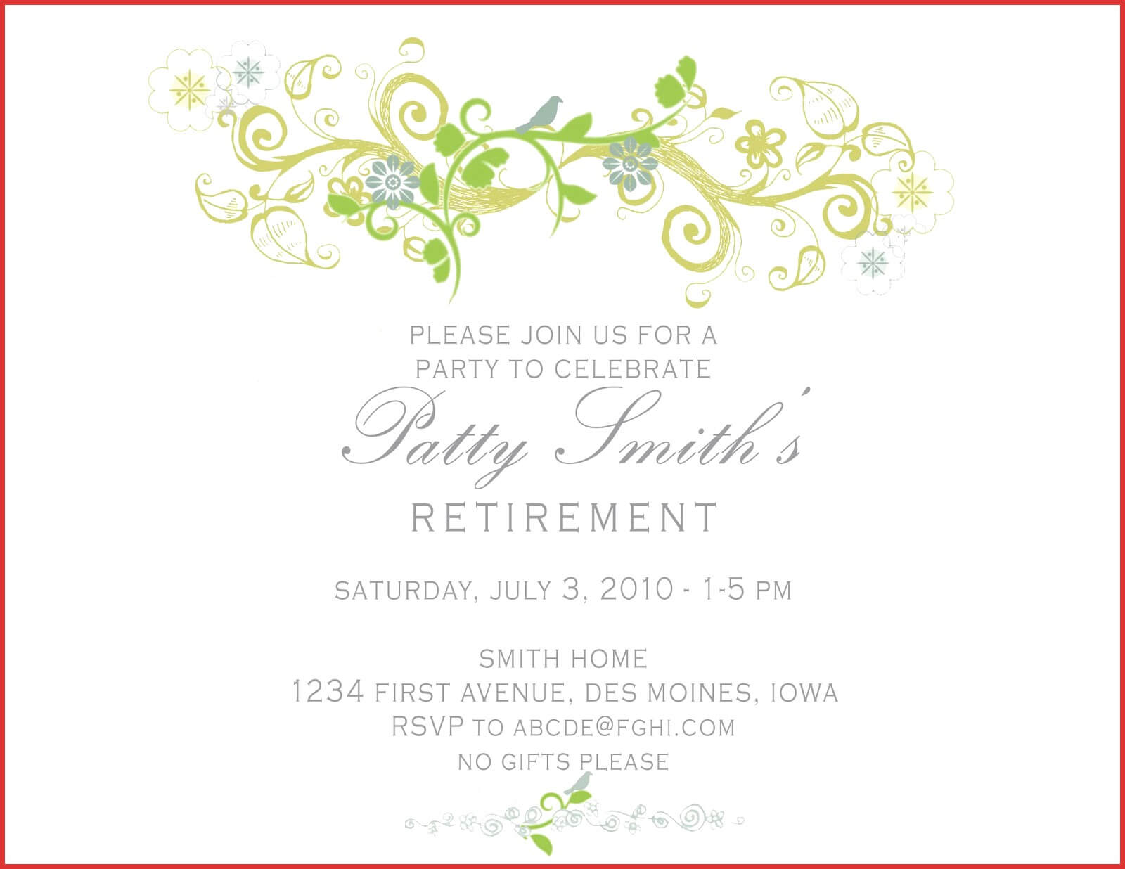 010 T Breathtaking Retirement Party Invitation Templates With Retirement Card Template