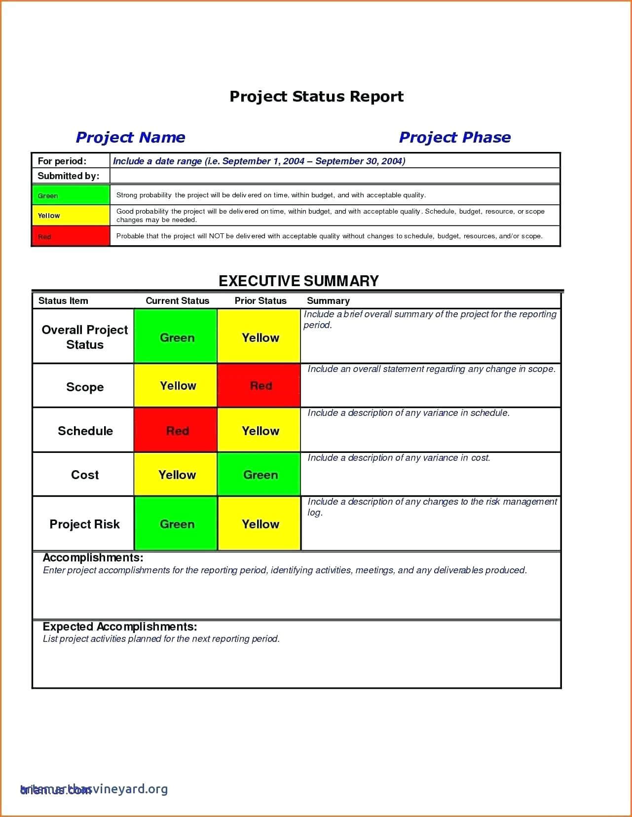 010 Template Ideas Project Management Executive Summary For Executive Summary Project Status Report Template