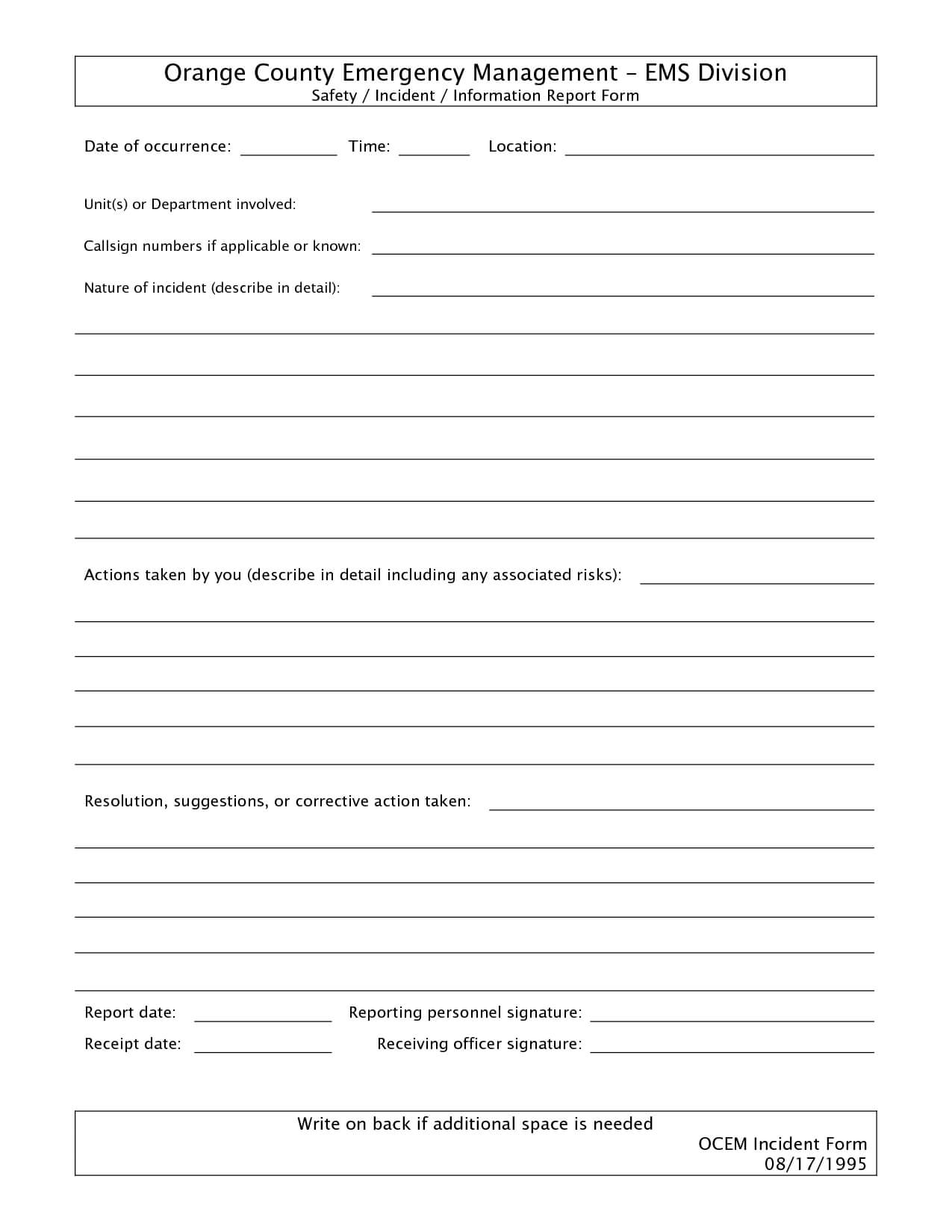 011 Template Ideas Free Incident Report Form Word Blank with Itil Incident Report Form Template