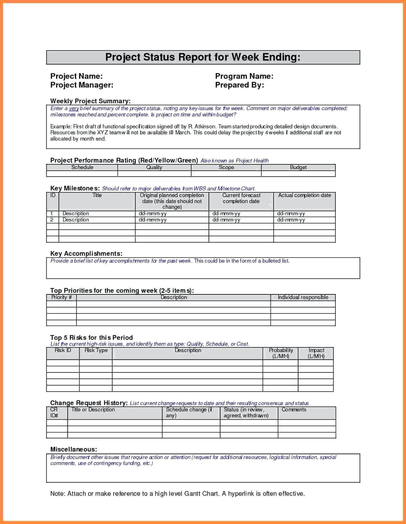 011 Template Ideas Project Management Status Report Weekly in Monthly Status Report Template Project Management