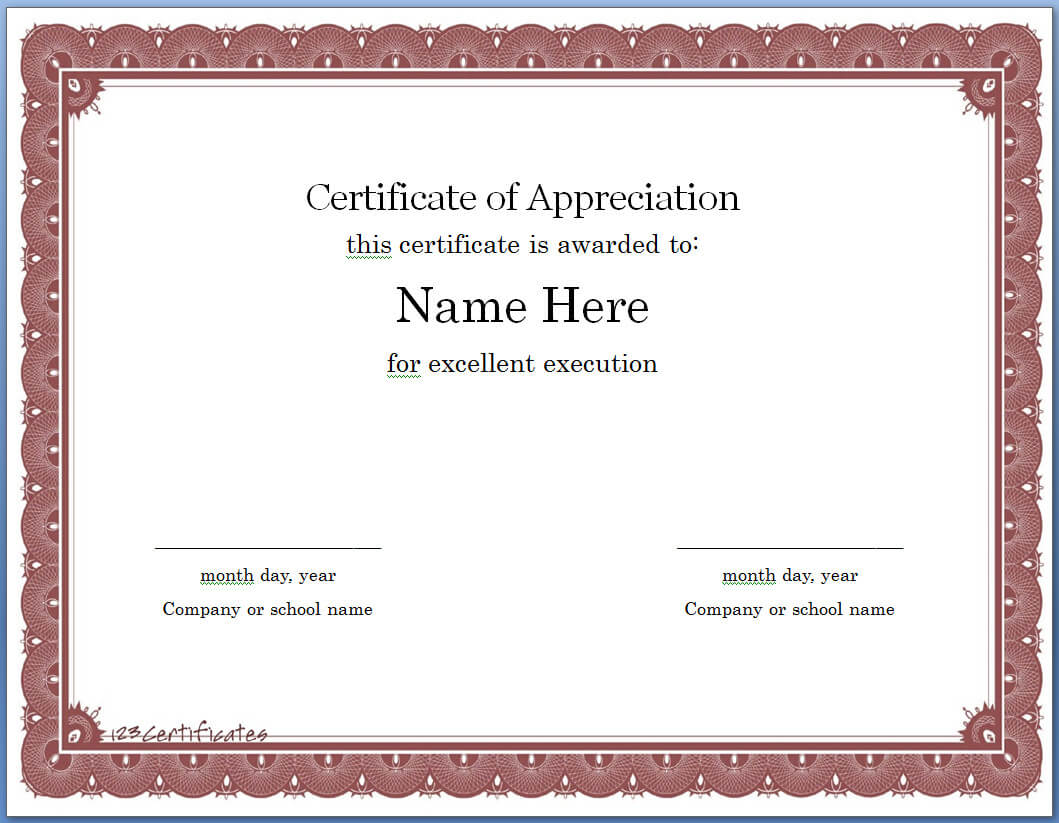 012 Certificate Of Appreciation Template Word Exceptional Within Certificate Of Appreciation Template Doc