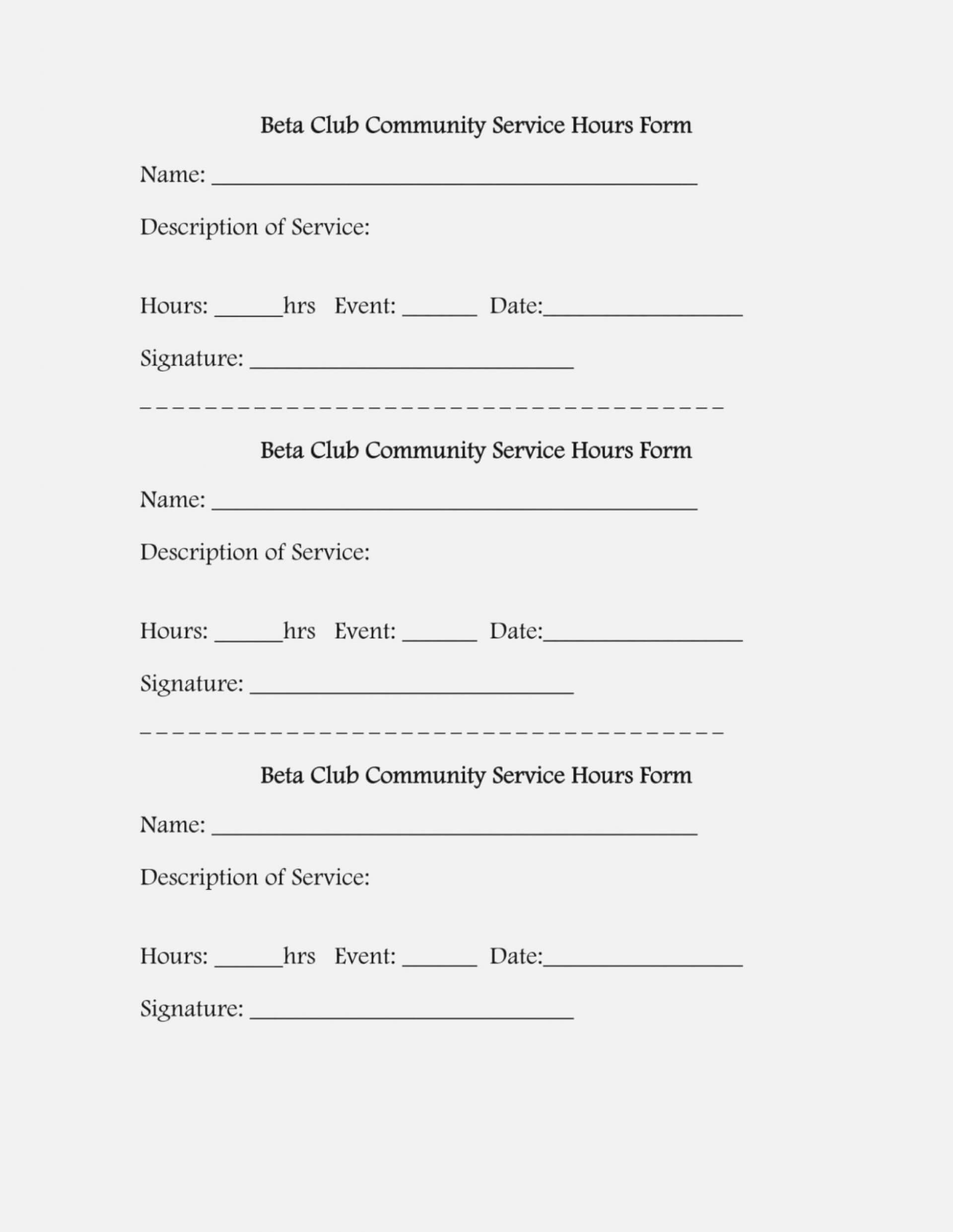012 Service Form Template Sample Volunteer Ideas within Volunteer Report Template