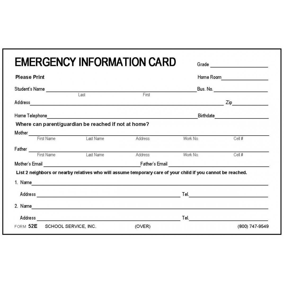 014 Emergency Contact Form Template Ideas Someka Excellent within Emergency Contact Card Template