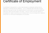 016 Certificate Of Service Template Sample Lovely Employment throughout Sample Certificate Employment Template