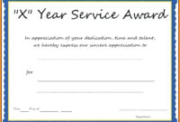 019 Certificate Of Service Template For Years Award regarding Certificate For Years Of Service Template