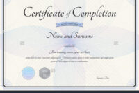 019 Template Ideas Certificate Of Completion Fascinating with regard to Free Certificate Of Completion Template Word
