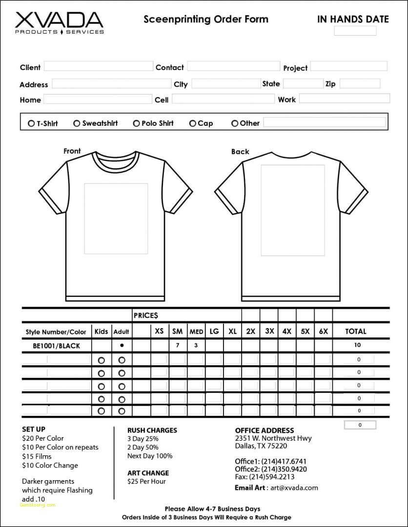 022 Template Ideas Apparel Order Form Printable T Shirt Of with regard to Blank Tshirt Template Printable