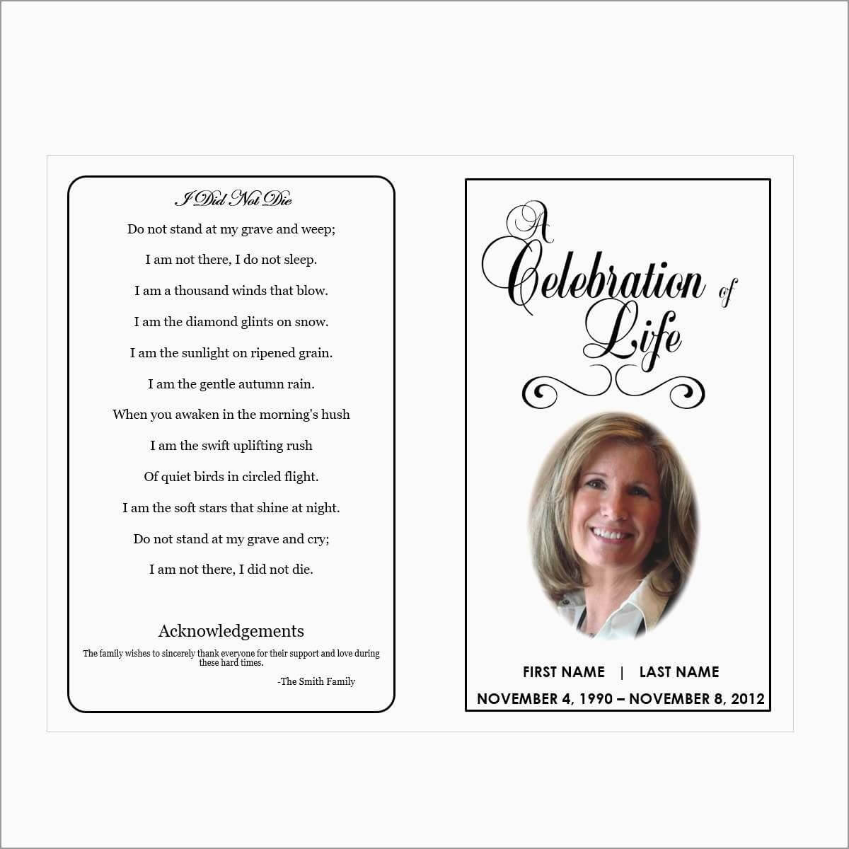 024 Free Memorial Cards Template Funeral Program Examples in Prayer Card Template For Word