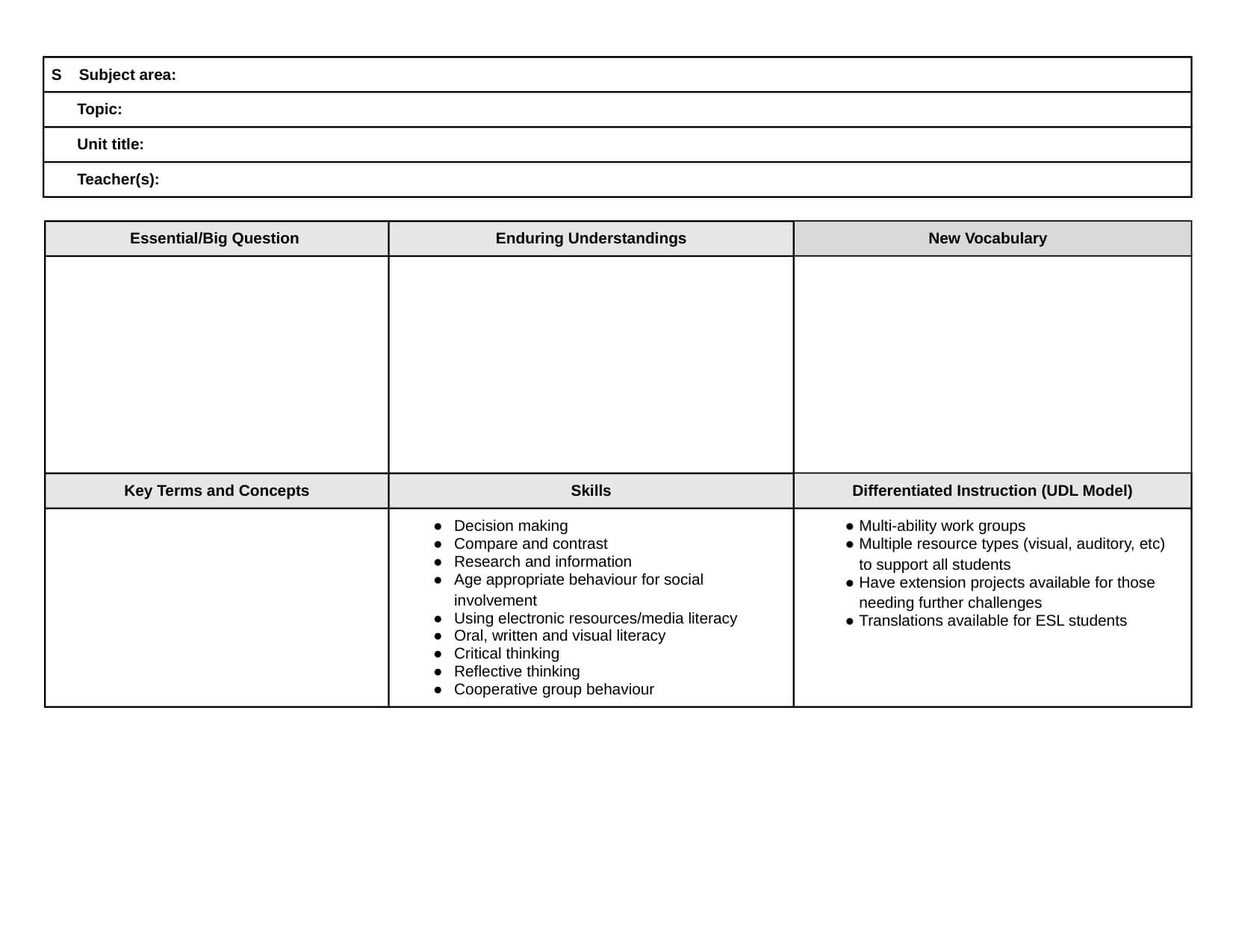 026 Blank Social Studies Lesson Plan Template Unit Plans With Regard To Blank Unit Lesson Plan Template