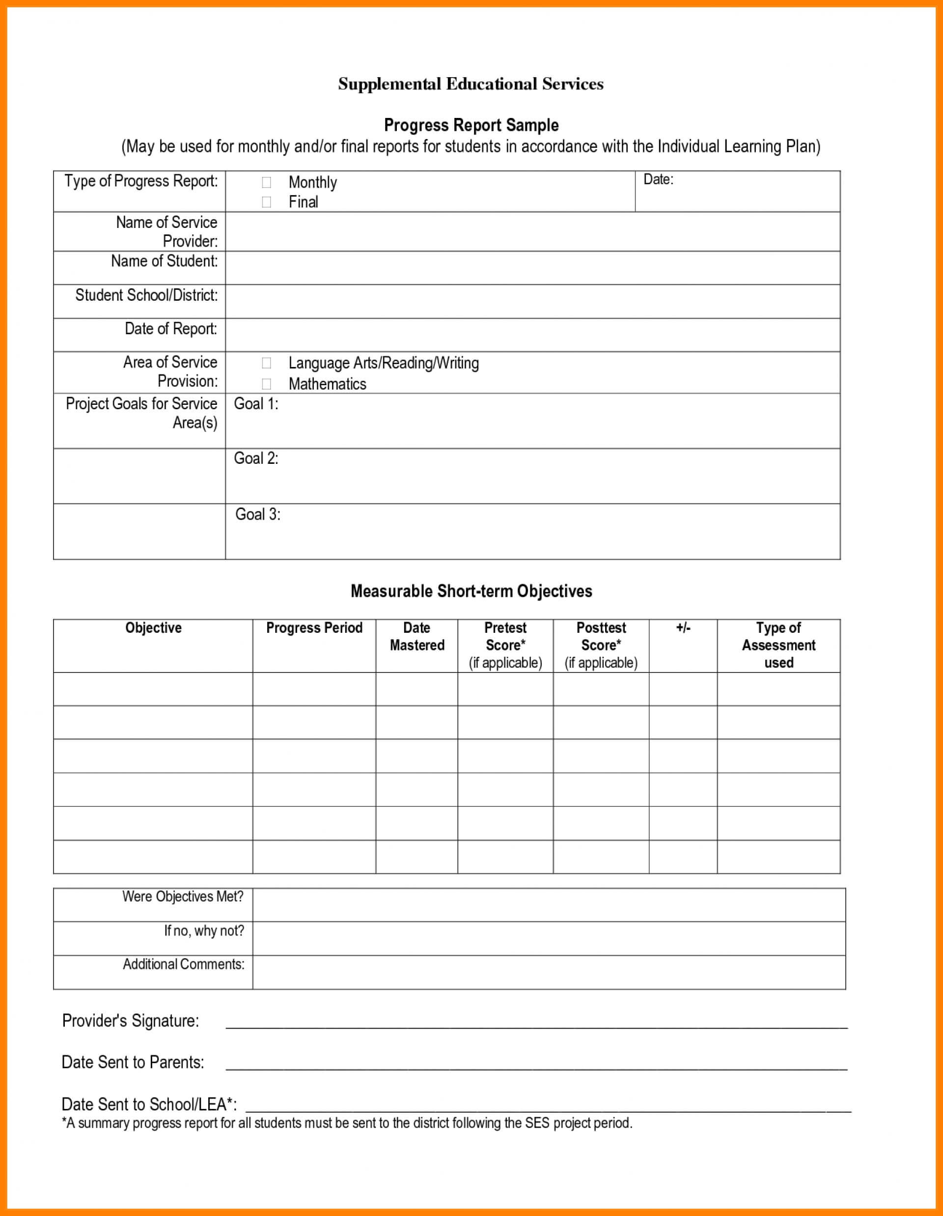 028 Student Progress Report Template Ideas Daily Beautiful with regard to Summer School Progress Report Template