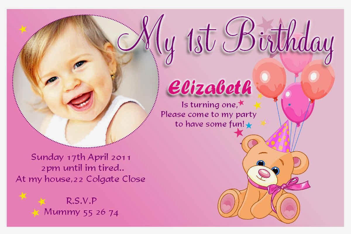 029 Birthday Invitation Cards 1St Wording Samples Template intended for First Birthday Invitation Card Template