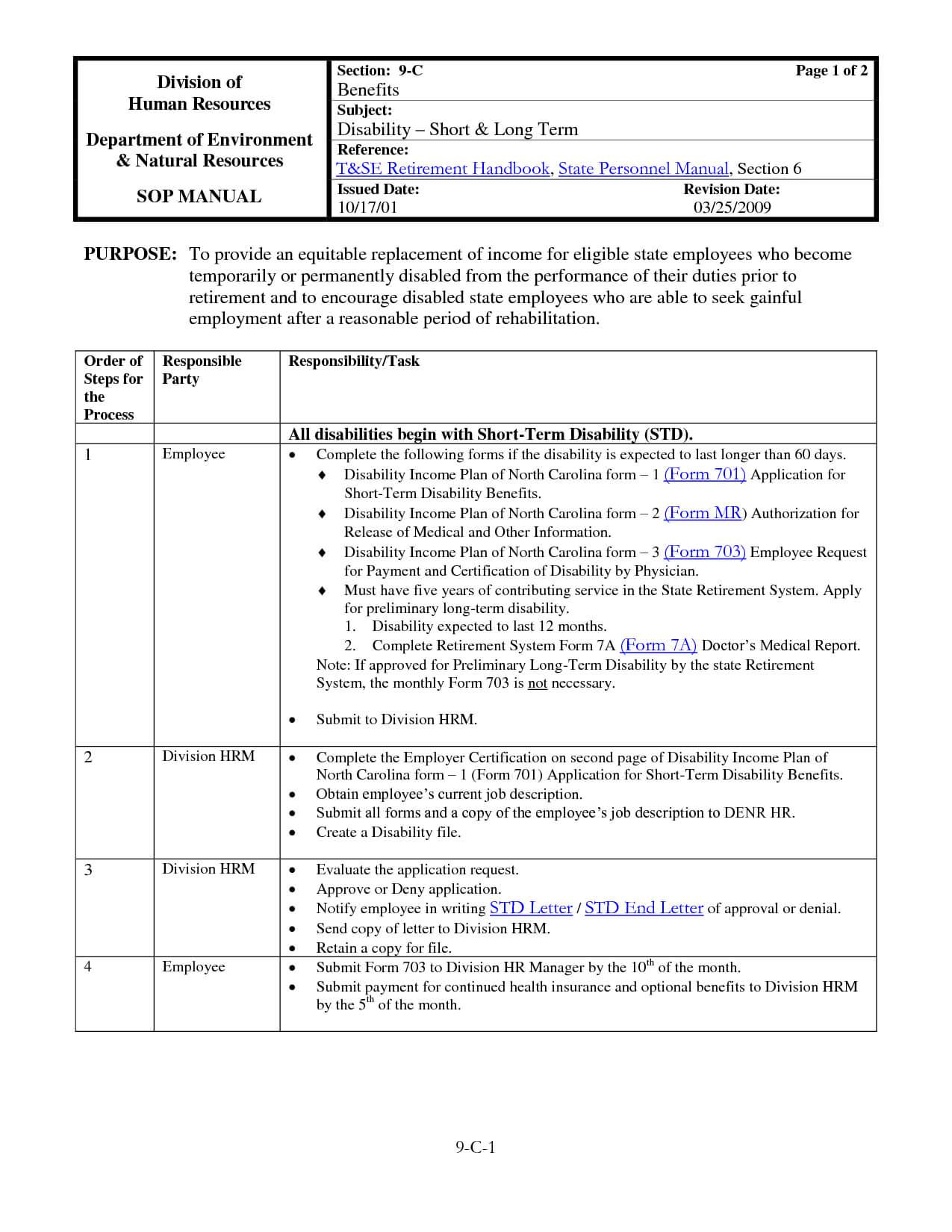 030 Template Ideas Standard Operating Procedure Free Manual Pertaining To Procedure Manual Template Word Free