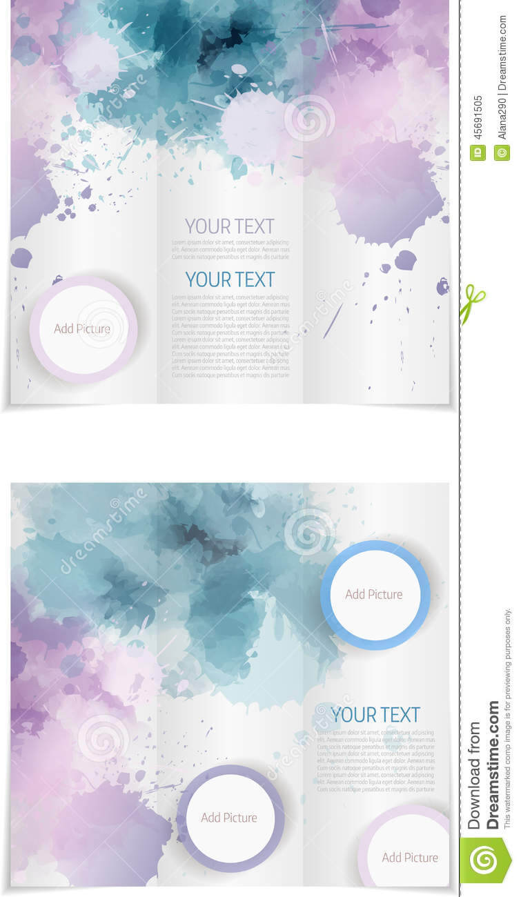 030 Tri Fold Brochure Template Paint Splashes Blue Purple Within Microsoft Word Brochure Template Free
