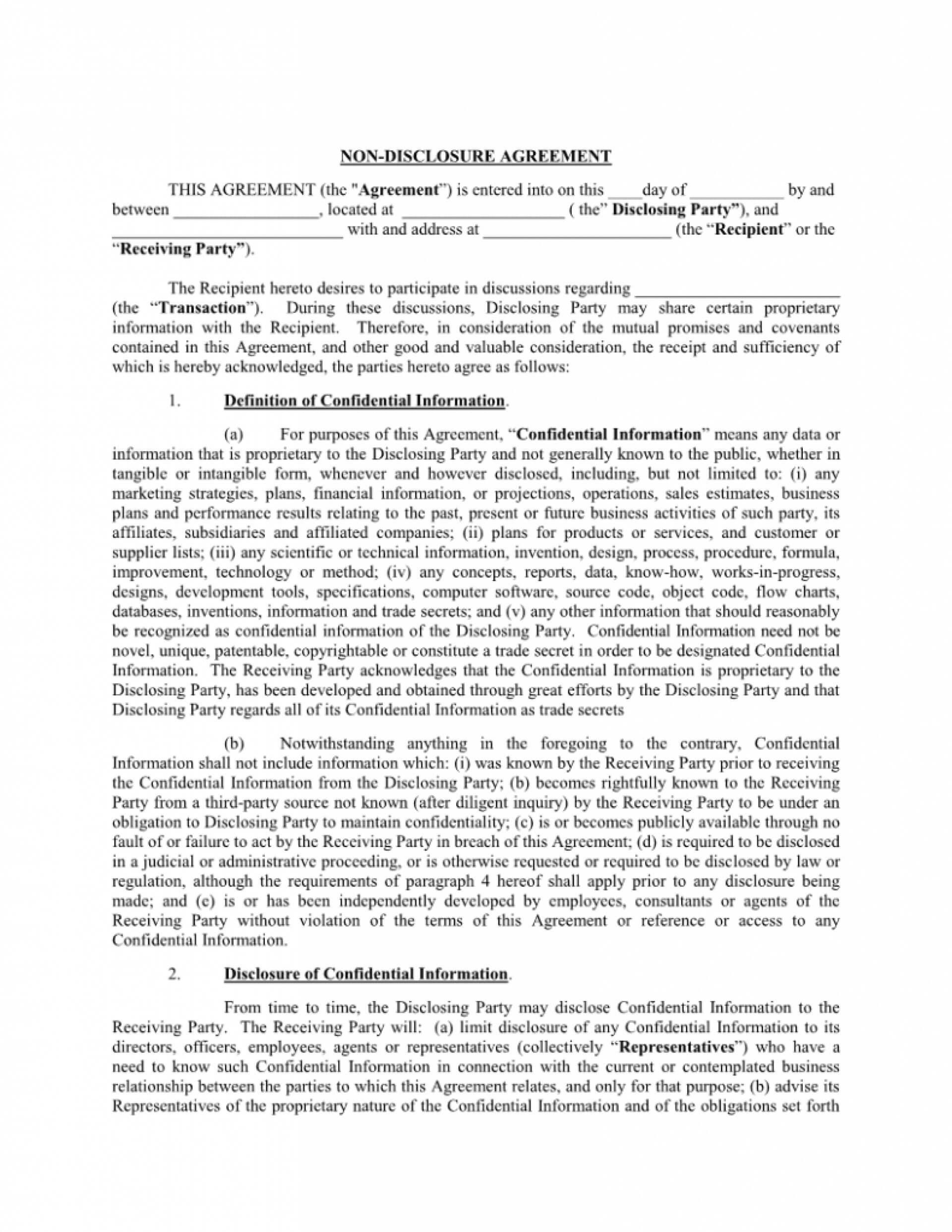 031 Internship Confidentiality Agreement Nda Template Word intended for Nda Template Word Document