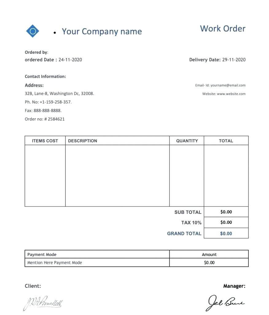 032 Work Order Templates Download Excel Doc Formats Tv Show regarding Mechanic Job Card Template