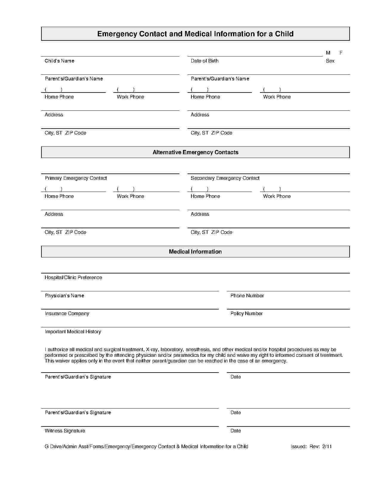 033 Emergency Contact Form Template Excellent Ideas throughout Emergency Contact Card Template