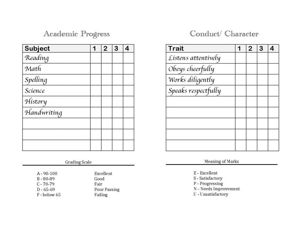 033 Printable Report Card Template Home School Cards Within Character Report Card Template
