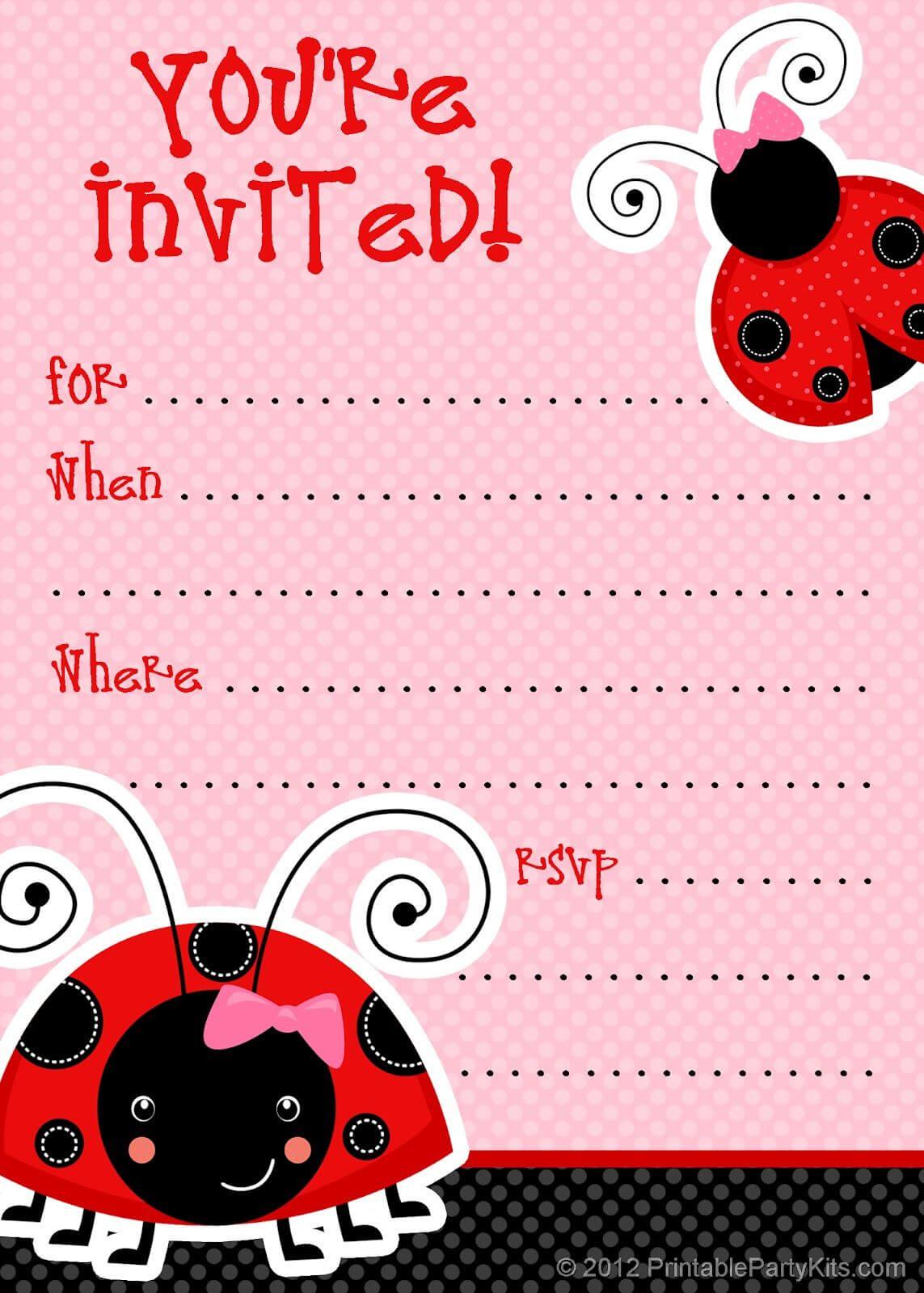 1) Free Printable Ladybug Invitation Blank Template. 2 Regarding Blank Ladybug Template