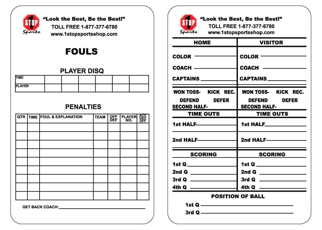 1 Stop Sports Reusable Football Game Card - 1 Stop Sports In Football Referee Game Card Template