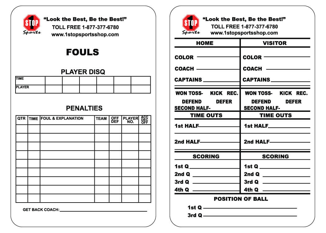 1 Stop Sports Reusable Football Game Card - 1 Stop Sports in Soccer Referee Game Card Template
