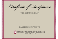 10+ Certificate Of Acceptance Templates | Free Printable intended for Certificate Of Acceptance Template