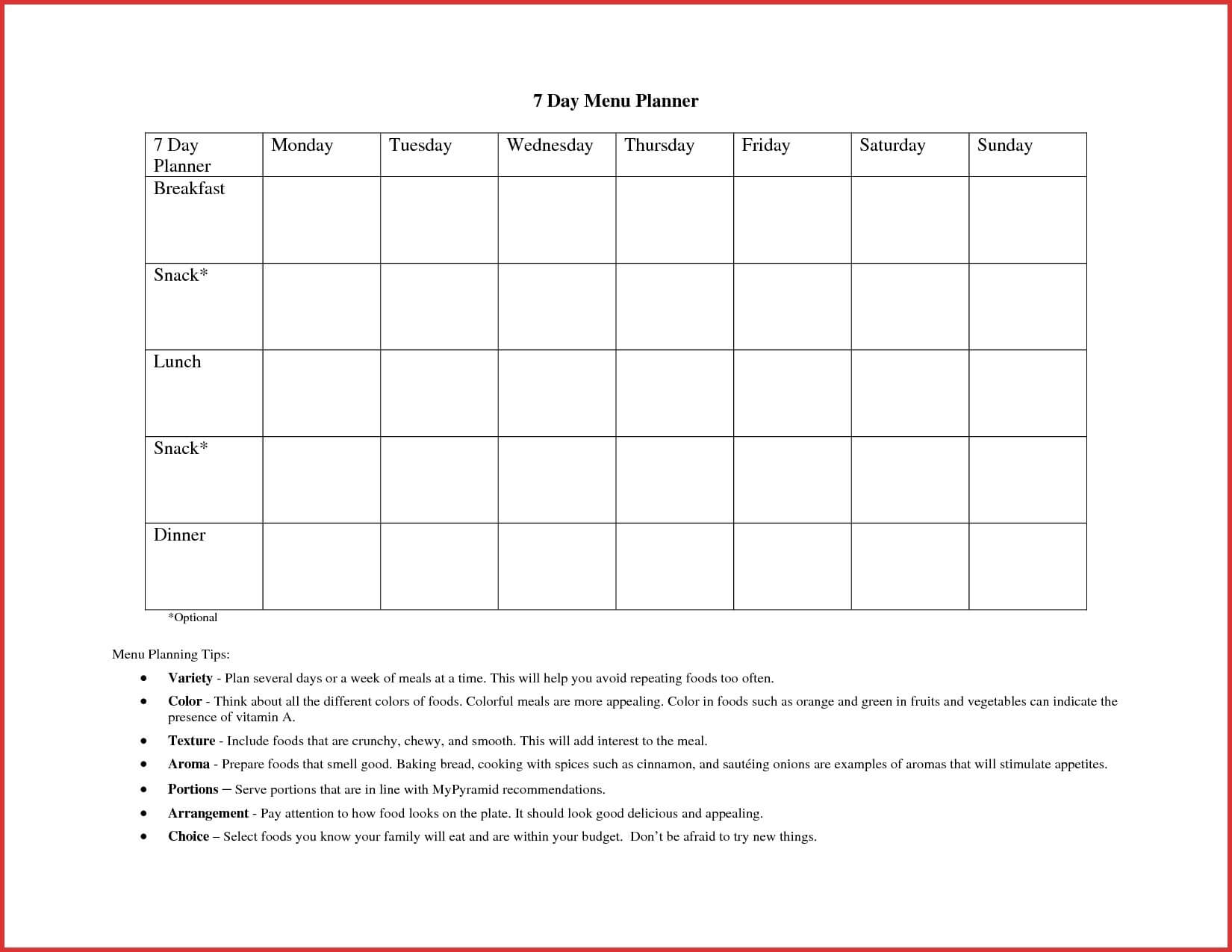 10 Weekly Meal Planner Template Word | Resume Samples For Weekly Meal Planner Template Word