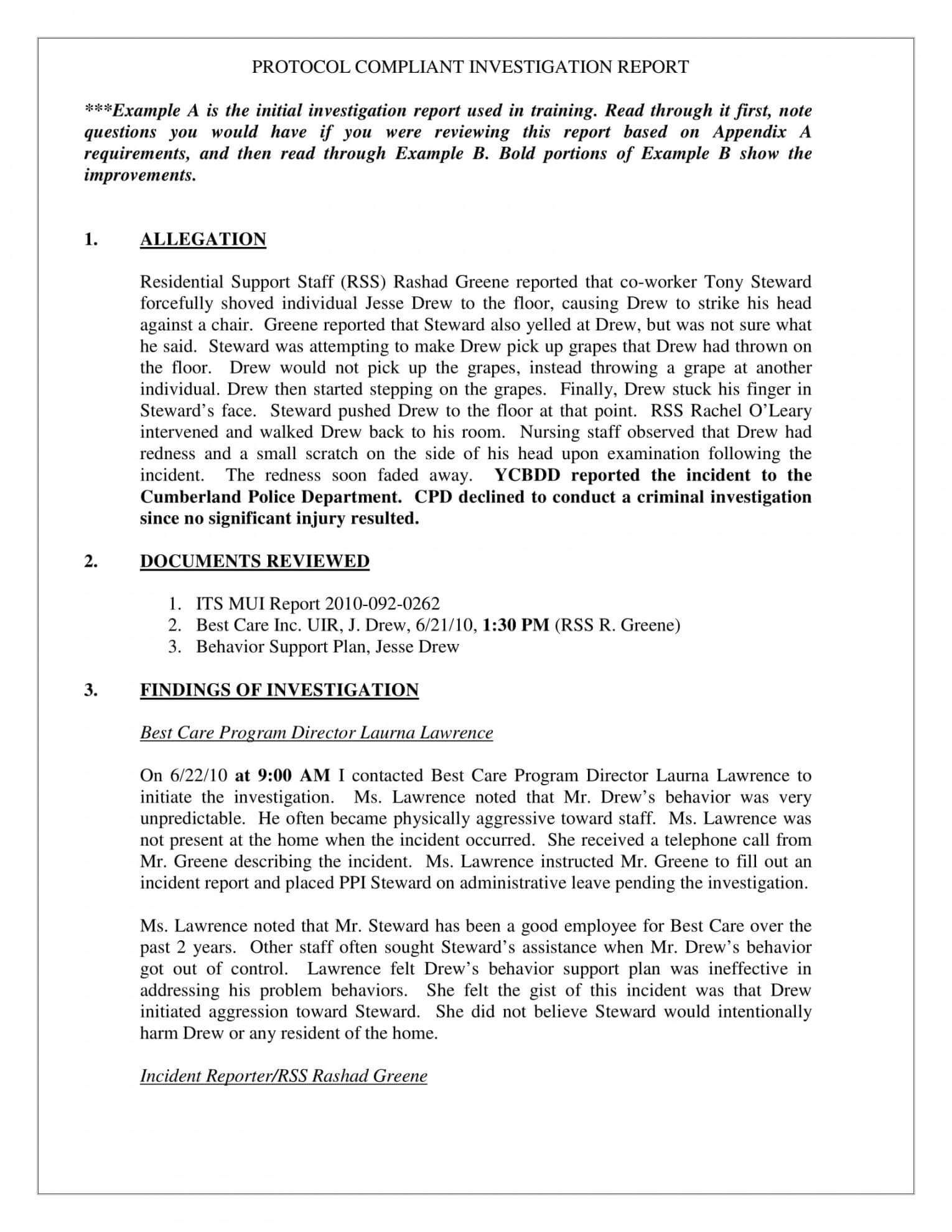 10 Workplace Investigation Report Examples Pdf Examples For Workplace Investigation Report Template