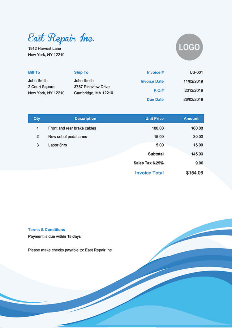 100 Free Invoice Templates | Print & Email Invoices Regarding Free Downloadable Invoice Template For Word