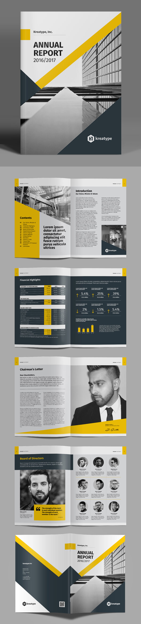 100 Professional Corporate Brochure Templates | Design in Chairman's Annual Report Template
