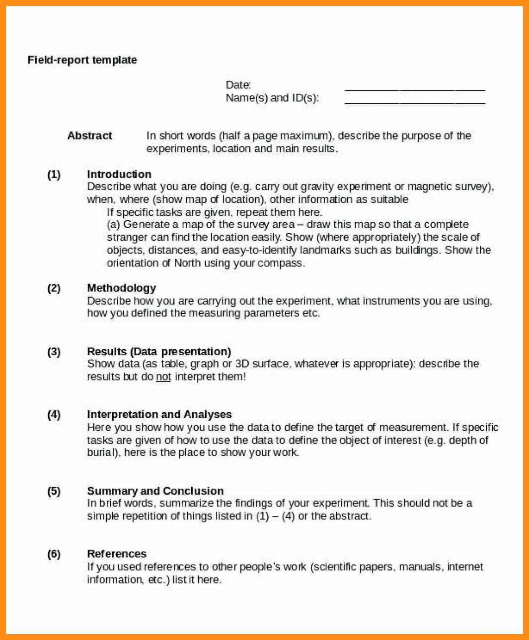 11 12 Example Of Field Report   Lasweetvida For Field Report Template